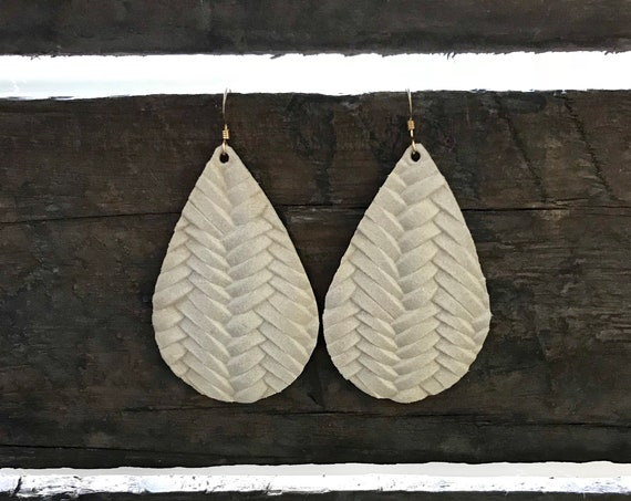 Leather Teardrop Earrings, Ivory Earrings, Statement Earrings, Drop Earrings