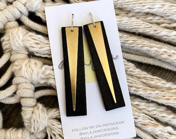 Modern Earrings, Rectangle Leather Drops, Drop Earrings, Minimalist Earrings