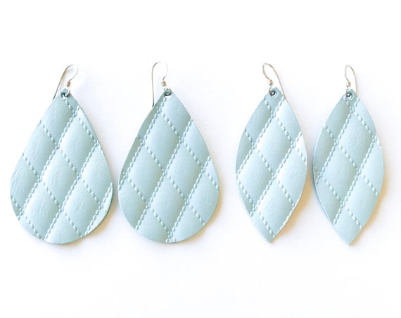 Powder blue leather earrings, Quilted blue leather earrings, petal earrings, teardrop earrings