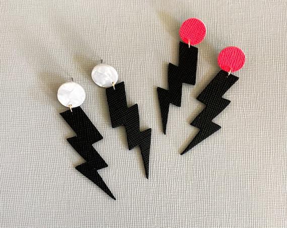 Lightning bolt earrings, acrylic earrings, leather earrings