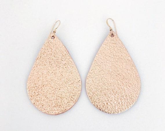 Rose gold leather teardrop earrings, teardrop earrings, statement earrings, rose gold leather, leather teardrop earrings