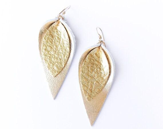 Leather earrings, petal earrings, drop earrings