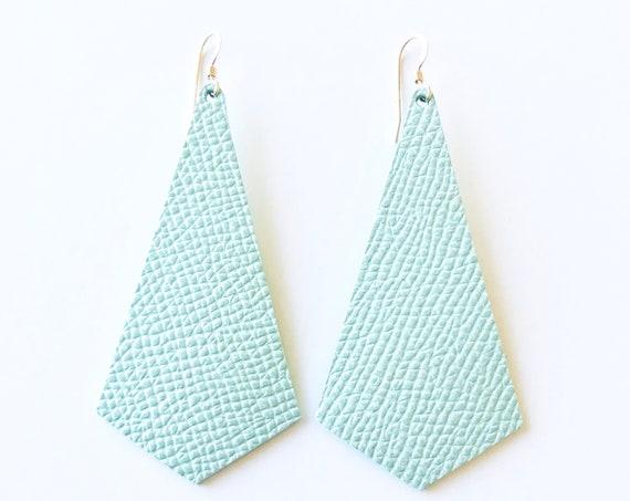 Mint leather earrings, modern pendant earrings