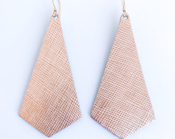 Rose gold leather earrings, modern pendant earrings, rose gold saffiano