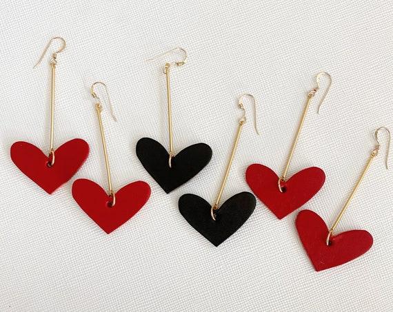 Heart earrings, heart leather earrings, Valentine's earrings