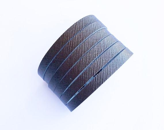 Metallic chocolate cuff bracelet, cuff bracelet, leather cuff, gunmetal leather cuff bracelet