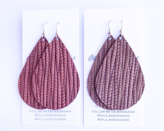 Cinnamon leather earrings, Pecan leather teardrop earrings, statement earrings, brown leather, leather teardrop earrings