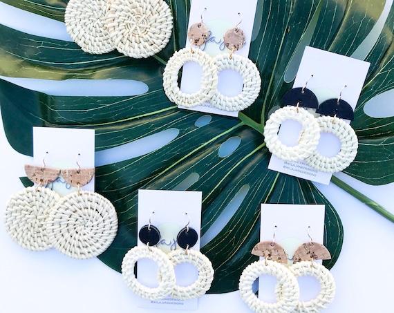Rattan earrings, statement earrings, Rattan and cork earrings