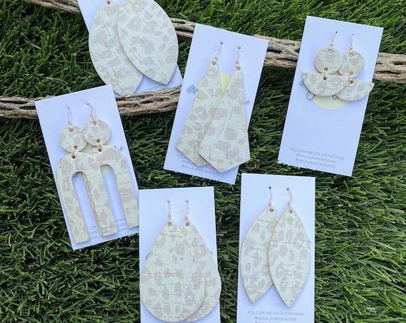Leopard cork leather earrings, Neutral Leopard earrings, cork earrings