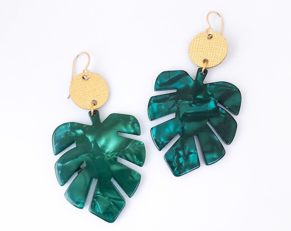 Palm leaf earrings, Palm leaves, statement earrings, Acrylic earrings