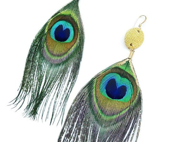 Peacock feather earrings, peacock feather, statement earrings