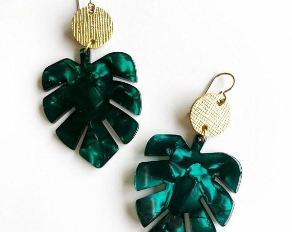Palm leaf earrings, Palm leaves, statement earrings, Acrylic earrings
