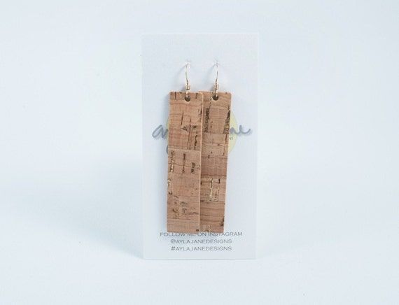 Natural leather cork rectangle earrings, drop earrings, Black cork, white cork earrings
