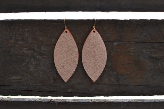 Rose Gold Petal Earrings, Metallic Rose Gold Leather Earrings, Statement Earrings