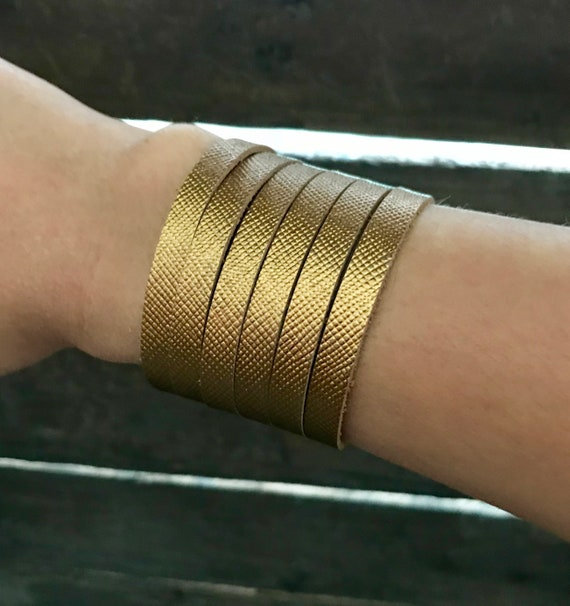Metallic bronze cuff bracelet, cuff bracelet, leather cuff, bronze leather cuff bracelet, saffiano cuff