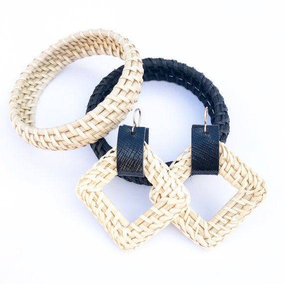 Rattan bangle, rattan bracelet, natural rattan bangle, black rattan bangle