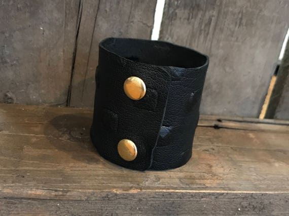 Leather cuff, black leather cuff, studded cuff, embossed cuff