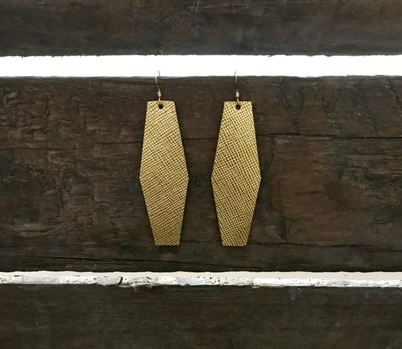 Gold or Silver leather earrings, modern geometric earrings,