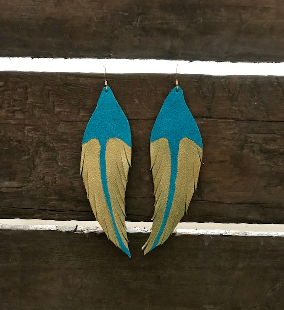 Teal feather earrings, Feather leather earrings, statement earrings
