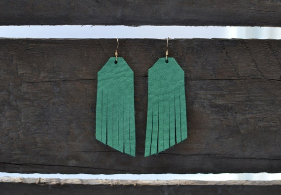 Kelly Green or Blush, Fringe earrings, fringe suede earrings, statement earrings, drop earrings