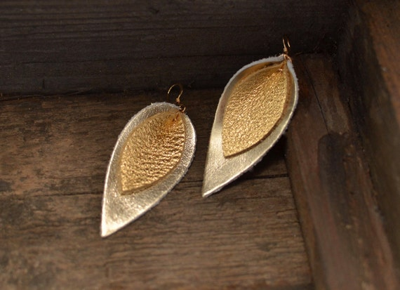 Leather earrings, petal earrings, drop earrings