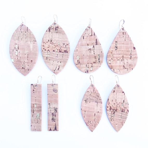 Cork earrings, statement earrings, Cork leather earrings