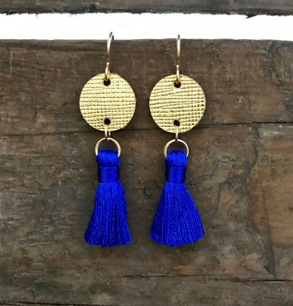 Royal Blue & Gold Tassel Earrings