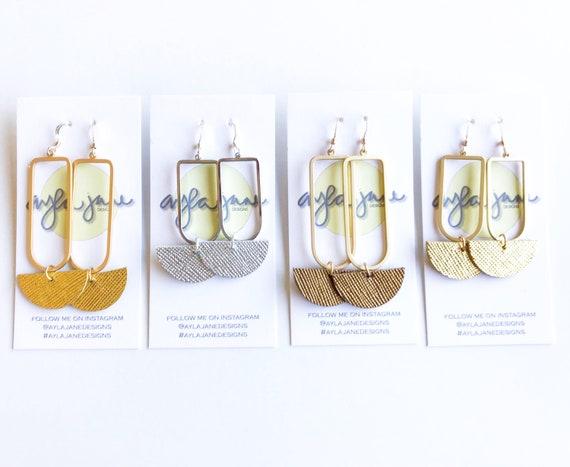 Modern crescent earrings, Simple leather earrings, Minimalist earrings