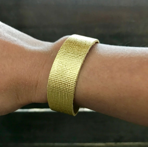 Saffiano gold leather bracelet, cuff bracelet, leather cuff, gold leather cuff bracelet