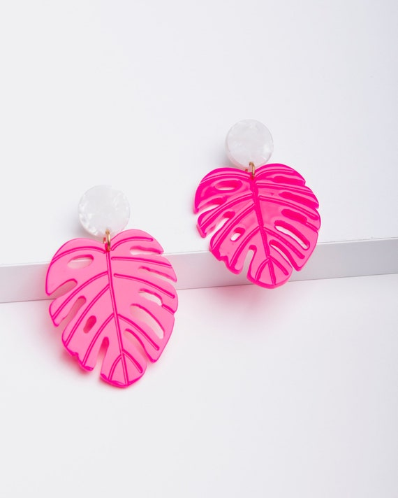 Hot pink earrings, acrylic earrings, palm leaf earrings