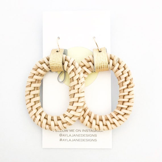Rattan earrings, statement earrings, Rattan and cork earrings