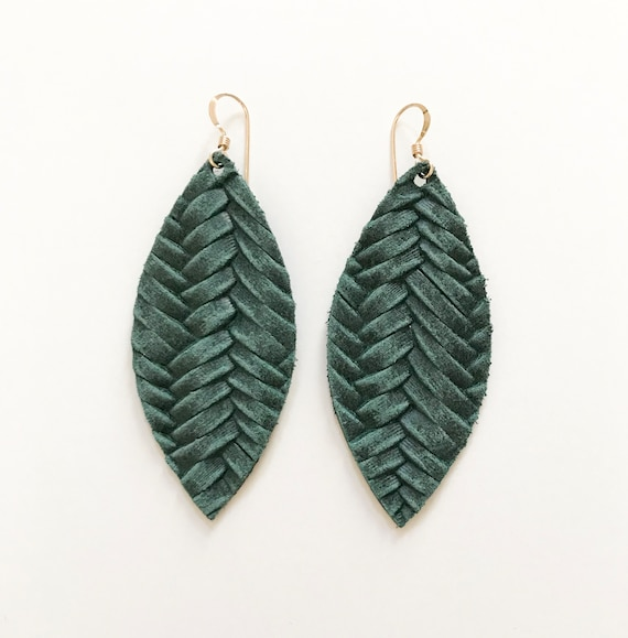Pine leather teardrop earrings, teardrop earrings, statement earrings, green leather, leather teardrop earrings