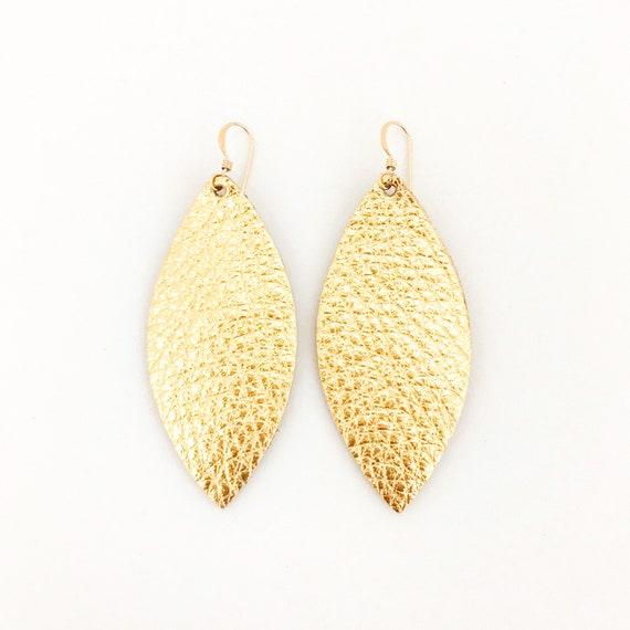 Petal leather earrings, leather earrings, Metallic Leather Earrings, statement earrings, gold, drop earrings, petal earrings, petal leather