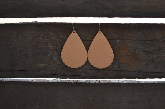 Nude leather earrings, nude teardrop earrings