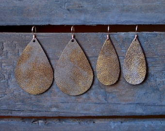 Bronze teardrop leather earrings, leather earrings, statement earrings, drop earrings