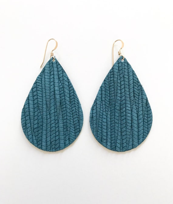Dark teal leather teardrop earrings, teardrop earrings, statement earrings, teal leather, leather teardrop earrings