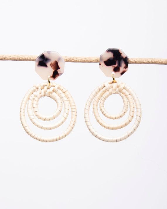 Rattan earrings, Rattan post earrings, statement earrings, summer earrings, spring earrings
