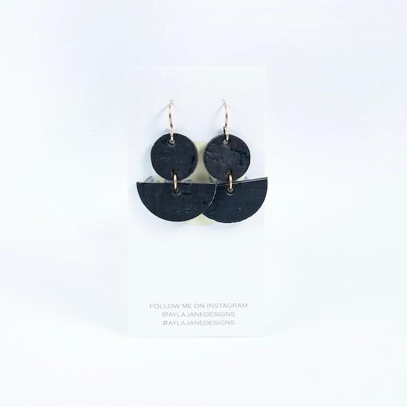 Modern earrings, statement earrings, cork earrings , mini crescent earrings, dainty earrings