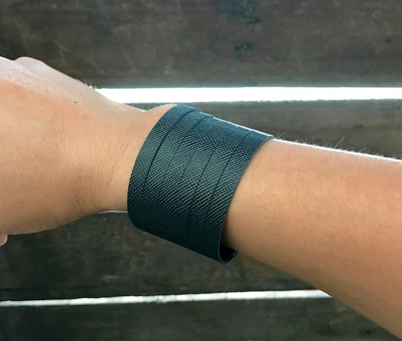 Black matte saffiano cuff bracelet, cuff bracelet, leather cuff, gold leather cuff bracelet