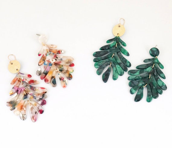 Multicolored or Green Acrylic Statement Earrings
