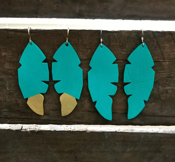 Feather earrings, Feather leather earrings, statement earrings, Boho earrings