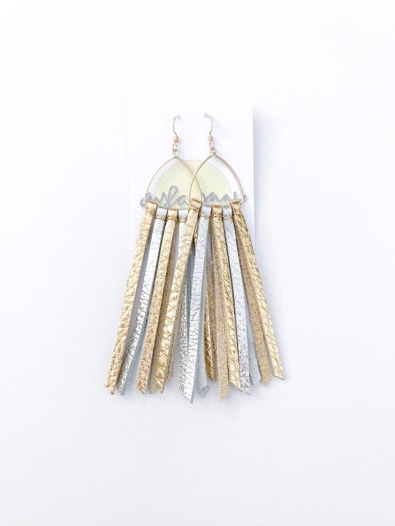 Modern tassel earrings, leather tassel earrings, statement earrings