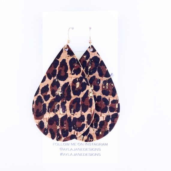 Leopard Cork earrings, Leopard earrings, statement earrings, Cork leather earrings