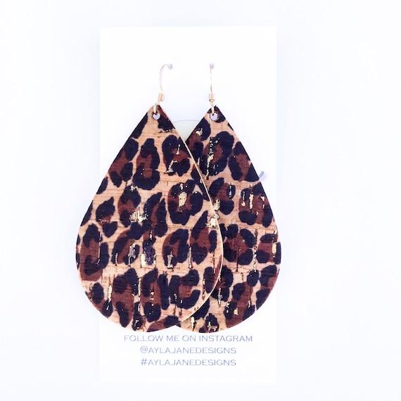 Leopard Cork earrings, Leopard earrings, statement earrings, Cork leather earrings