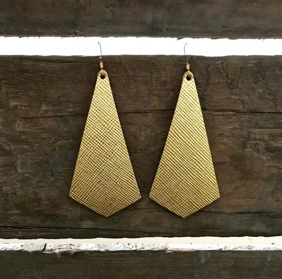 Gold leather earrings, modern earrings, gold saffiano
