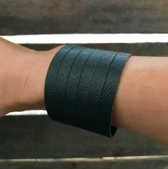 Black saffiano cuff bracelet, cuff bracelet, leather cuff, black leather cuff bracelet