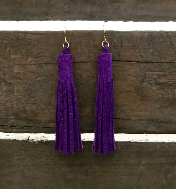 Ultra violet tassel earrings, leather tassel earrings, drop earrings, statement earrings, Purple tassel