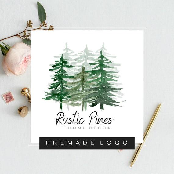 Pine Tree Watercolor Logo · Nature Logo Design · Evergreen Logo · Forest  Logo · Rustic Modern Logo · Premade Logo · Small Business Branding