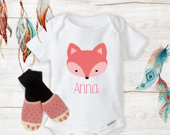 b02860c90a1 Pink Fox Personalized Name Onesies   Pink Knee High Socks Baby Fox Clothing  New Baby Gifts baby girl Outfit Baby Shower Gift Set Boho
