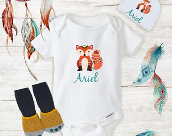 a0ee64714 Personalized Teal Fox Onesies with Hat   Claw Knee High Socks Baby Fox  Clothing Baby Boy baby girl clothes Baby Shower Gift Set Boho